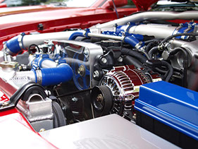 image of a blue and red engine