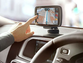 image of a person using a sat nav